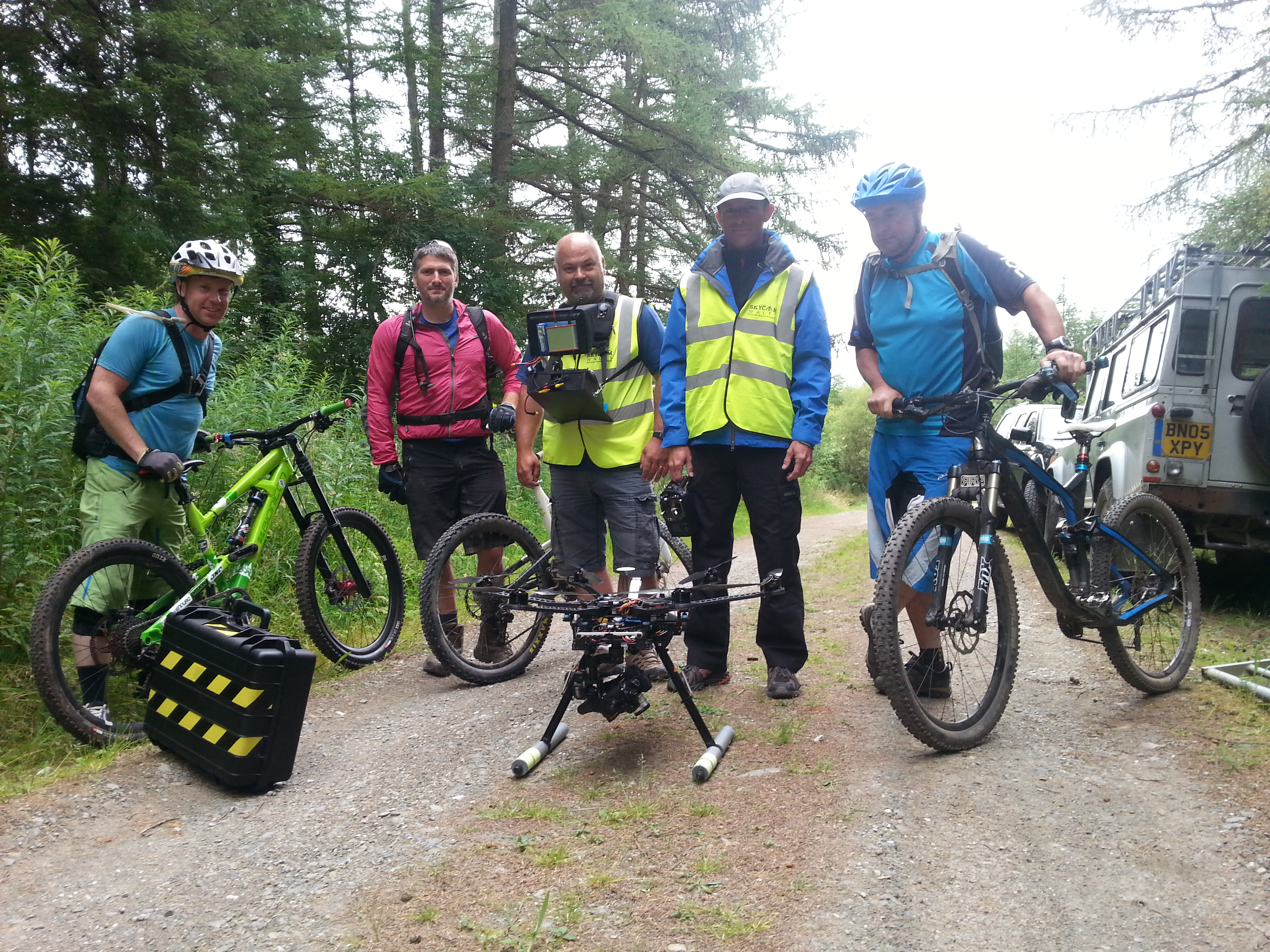 The team and the drone in a soggy Brechfa Forest